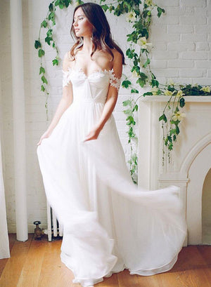 White A line lace off shoulder long prom dress, wedding dress