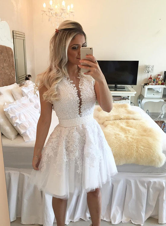 White lace tulle short prom dress, white evening dress
