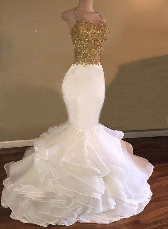 White And Gold Mermaid Long Prom Dress White Evening Dress