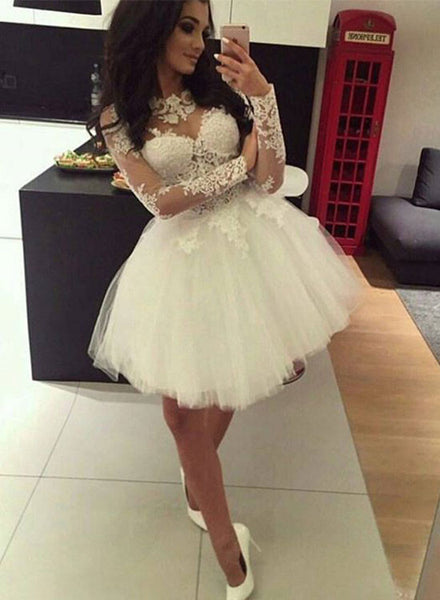 Cute lace long sleeve short prom dress, homecoming dresss