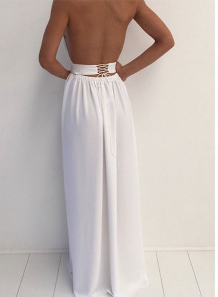 Simple white round neck long prom dress, evening dress