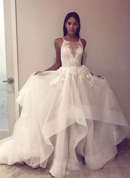 a0ea3733d1a White round neck tulle lace long prom dress