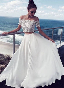 White lace two pieces long prom dress, white evening dress