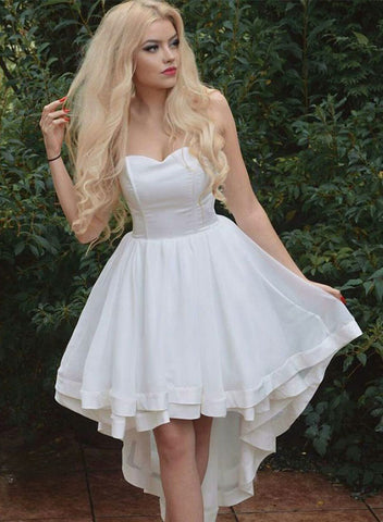 White sweetheart neck high low prom dress, white evening dress