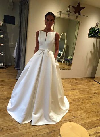 Simple white satin long prom dress, evening dress