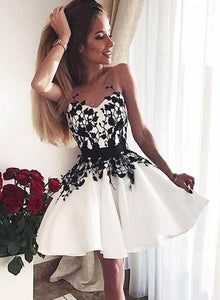 Cute round neck lace short prom dress, homecoming dress