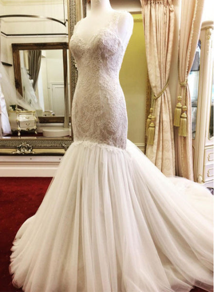 White tulle lace mermaid long prom dress, lace evening dresses