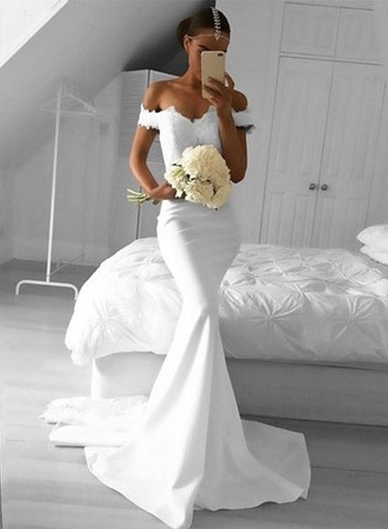 White lace mermaid long evening dress, white prom dress