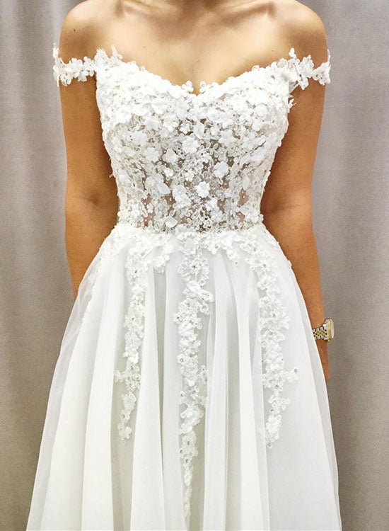 White v neck tulle lace applique long prom dress, evening dress