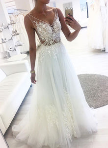 White v neck lace tulle long prom dress, white evening dress