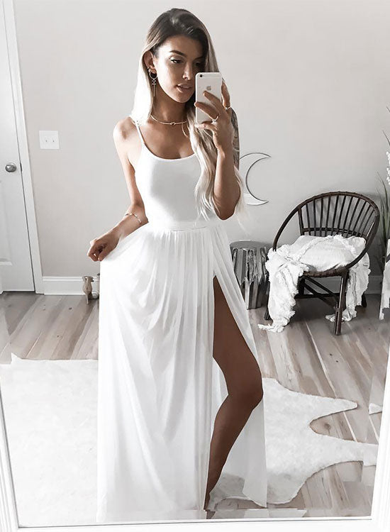 Simple white long prom dress, white evening dress