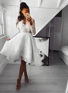 White v neck lace short prom dress, long sleeve evening dress