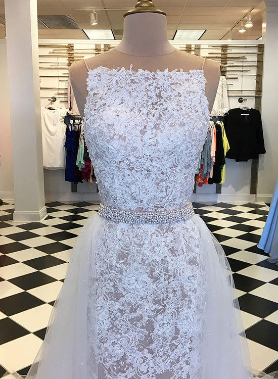 Unique white lace long prom dress, lace evening dress