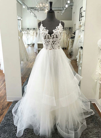 White v neck tulle lace long prom dress, wedding dress