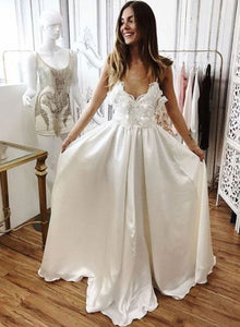 White v neck long prom dress, white evening dress