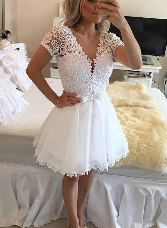 White A line lace tulle short prom dress, white evening dress