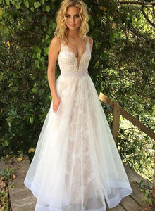 White v neck tulle long prom dress, lace evening dress
