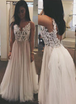 White v neck lace tulle long prom dress, lace evening dress