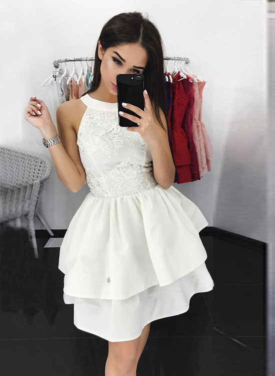 Stylish A line lace short prom dress, homecoming dress – trendty