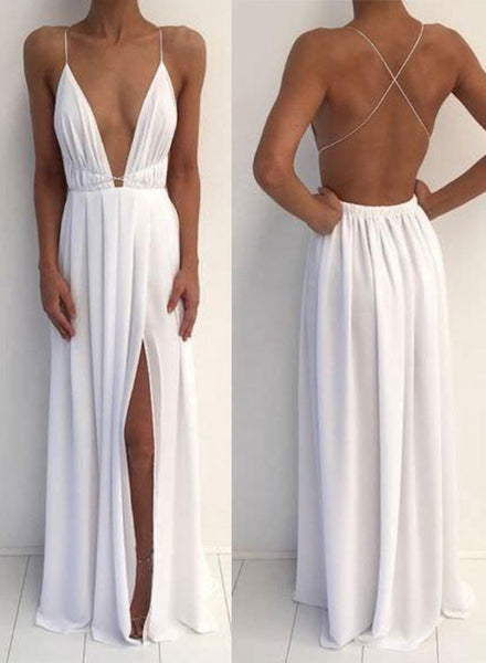 White v neck backless prom dress, white evening dress