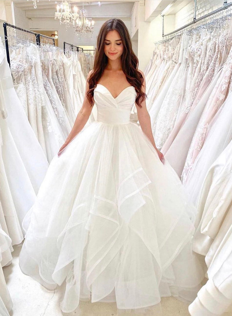 White tulle long ball gown dress wedding dress