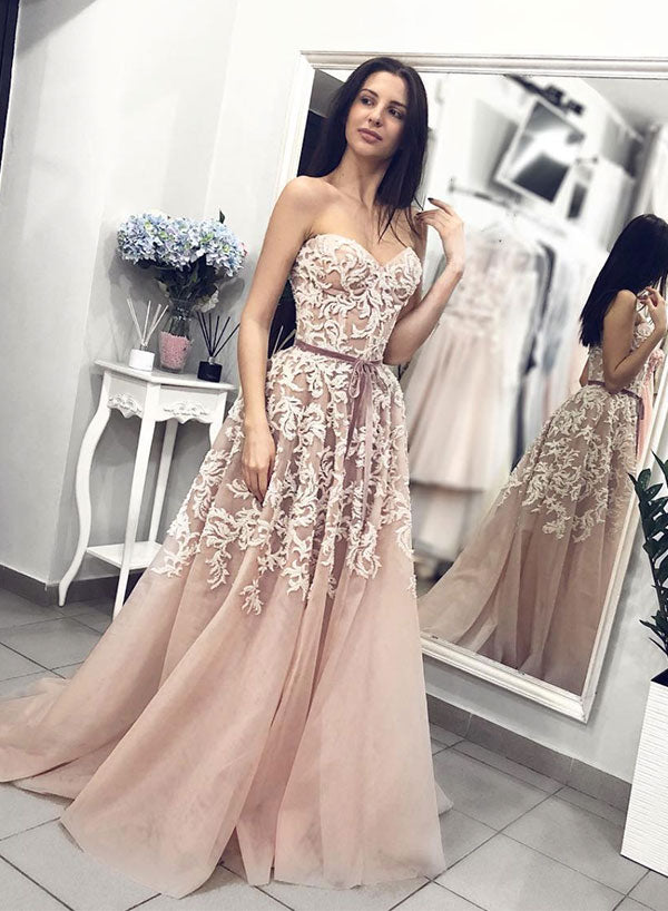Stylish sweetheart neck tulle lace long prom dress, formal dress