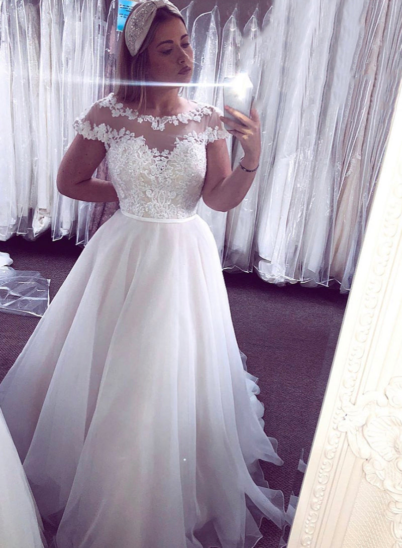 White tulle lace long prom dress white evening dress