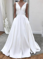 White v neck satin long prom dress evening dress
