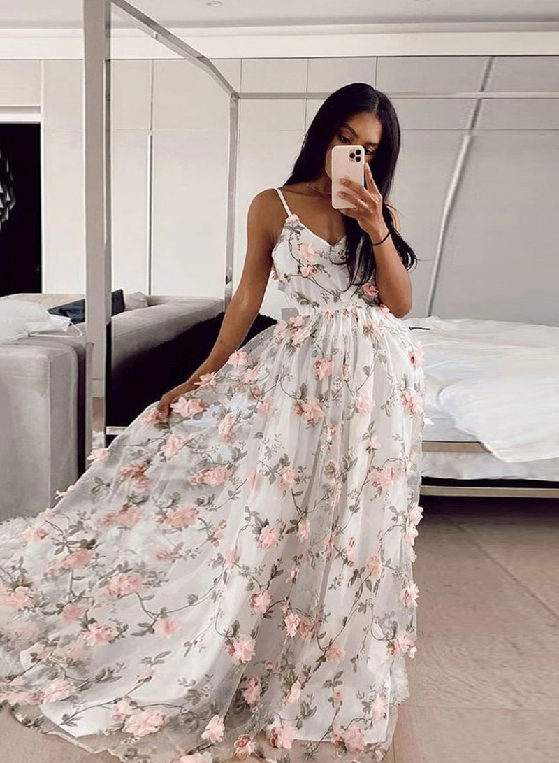 White v neck tulle applique prom dress evening dress