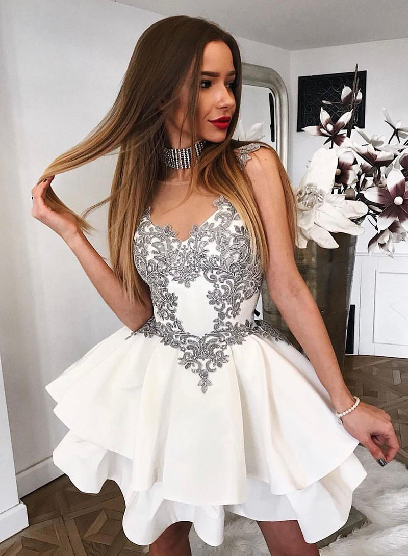 White satin lace short prom dress homecoming dress