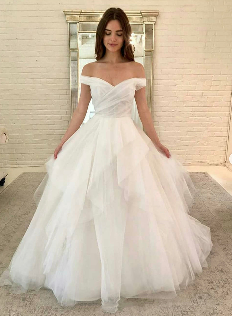 White off shoulder tulle long ball gown dress