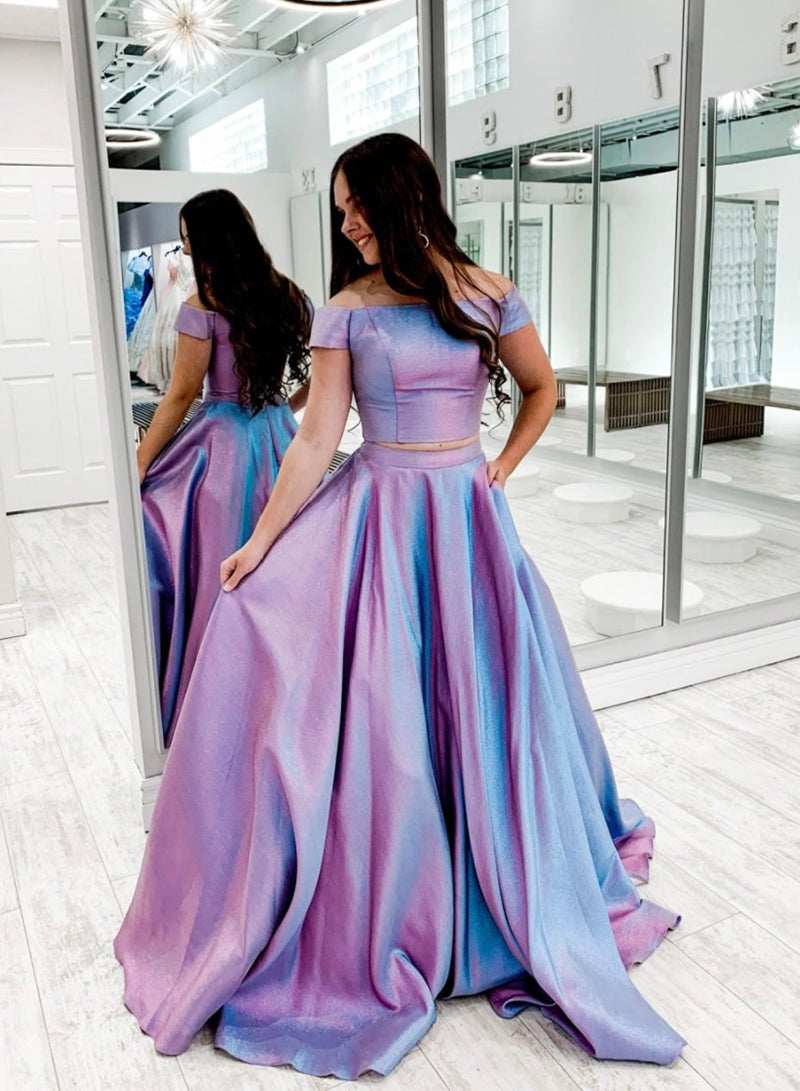 Simple long prom dress two pieces evening dress