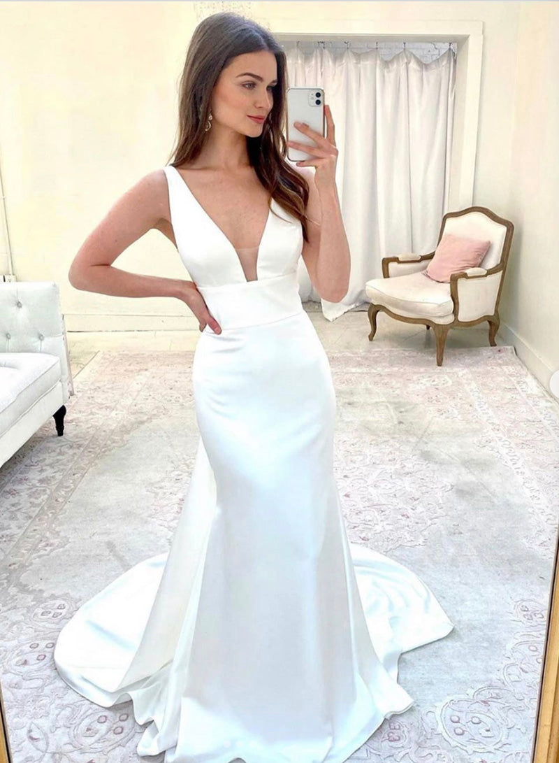 Mermaid v neck long prom dress evening dress