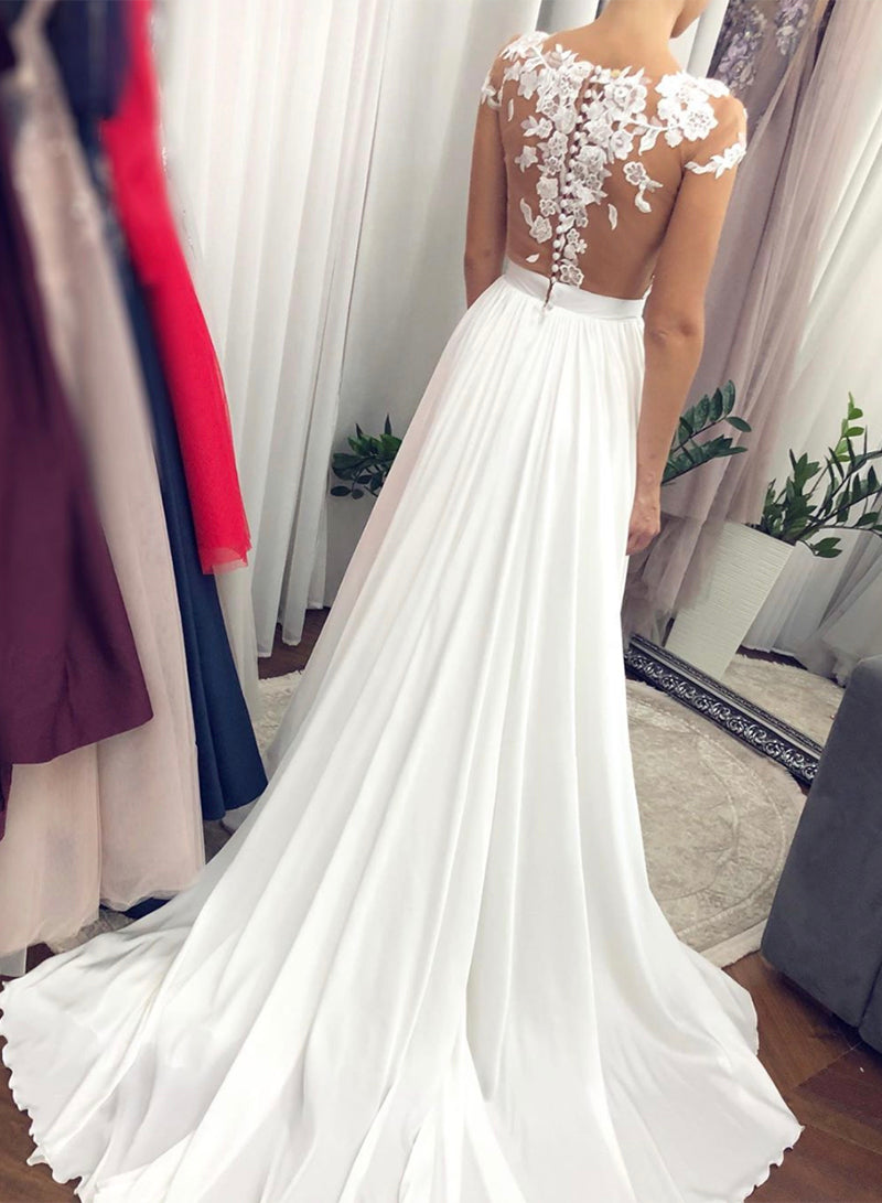 White chiffon lace long prom dress white evening dress