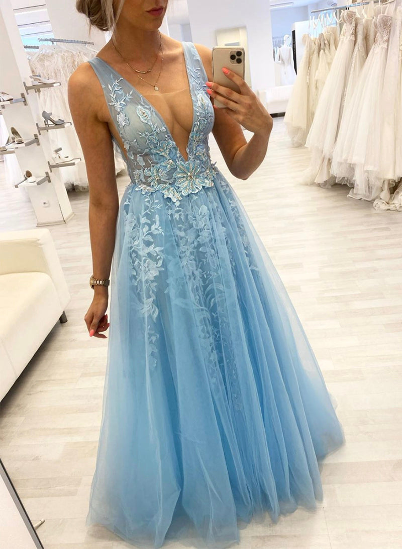Blue v neck tulle lace long prom dress evening dress
