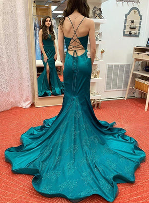 Mermaid satin lace long prom dress formal dress