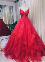 Burgundy tulle long prom gown evening dress