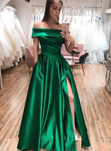 Green satin long prom dress green evening dress