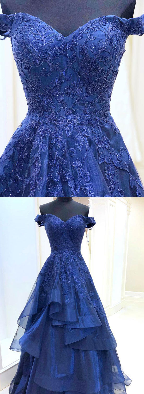 Dark blue tulle lace long prom dress, off shoulder evening dress
