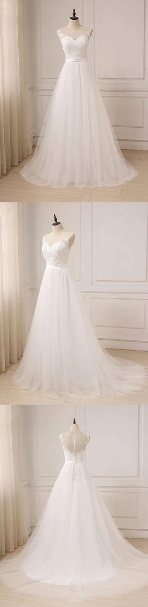 White round neck lace tulle long prom dress, evening dress