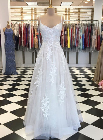 White tulle lace long prom dress, white evening dress