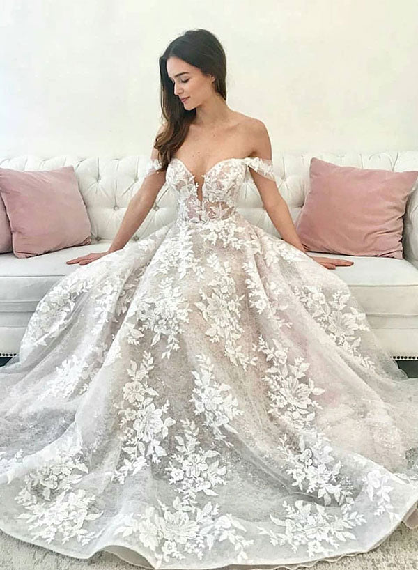 White lace off shoulder long prom dress, evening dress
