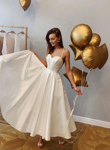 White sweetheart neck long prom dress, evening dress