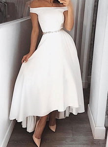 Stylish white high low prom dress, white evening dress