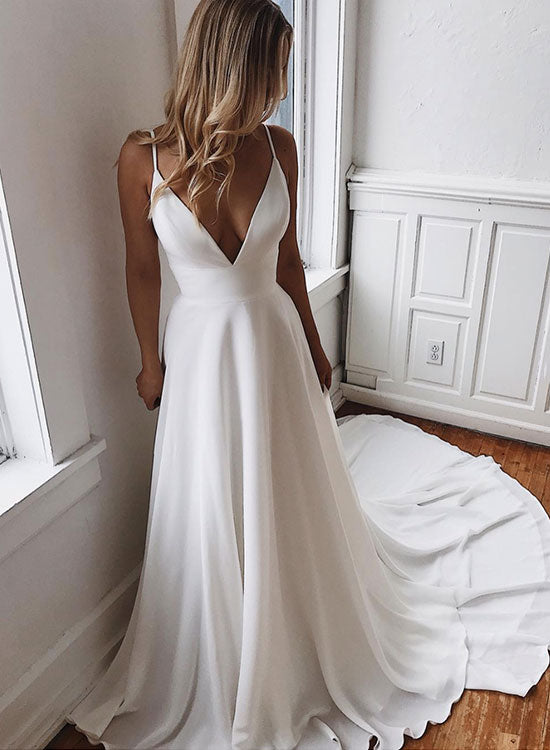 White v neck chiffon lace long prom dress, evening dress