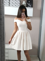 White satin short prom dress, white homecoming dress