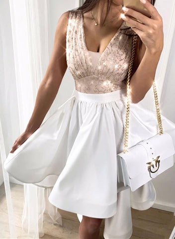 White v neck sequins short prom dress, homecoming dress