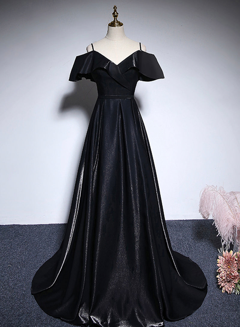 Black satin long prom dress A line evening dress