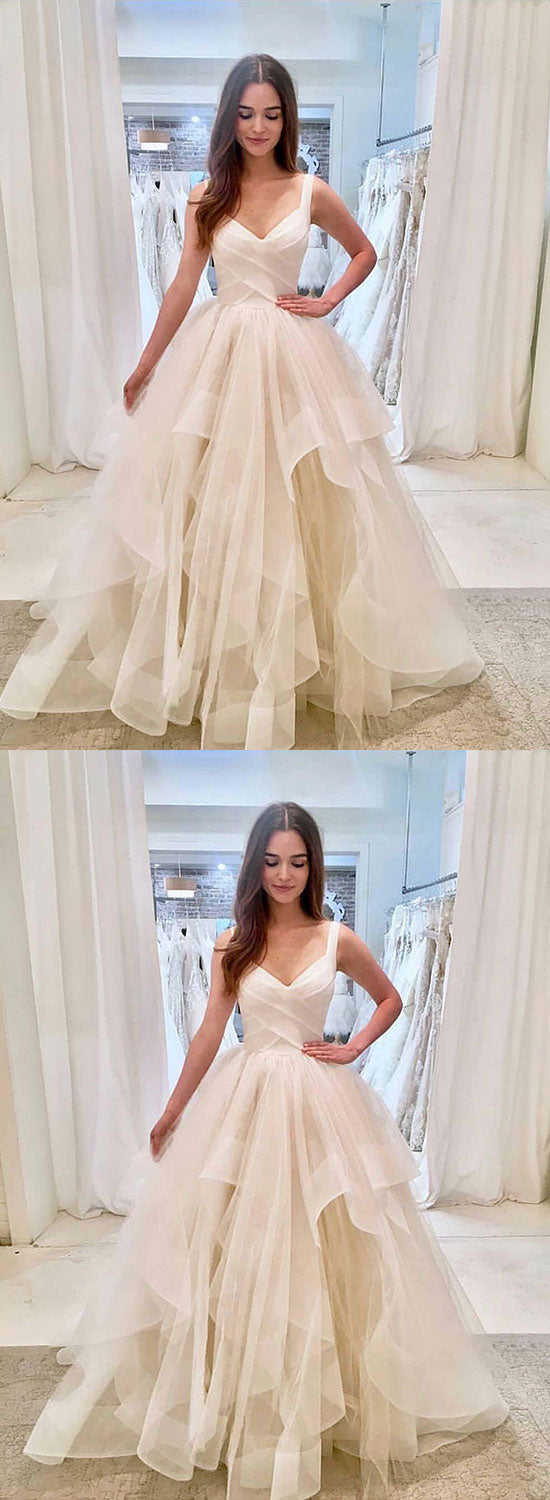 White v neck tulle long prom dress, white evening dress