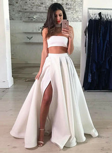 White two pieces long prom dress, white evening dress